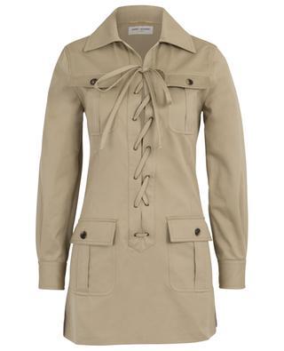 Safari inspired cotton short dress SAINT LAURENT PARIS