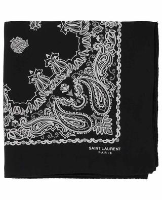 Foulard carré en sergé de soie Bandana SAINT LAURENT PARIS