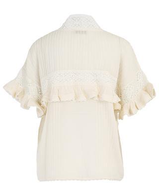 Gilda embroidered cotton blend short-sleeved top MES DEMOISELLES