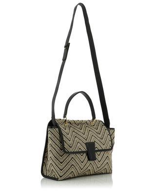 Large Elettra bicolour herringbone raffia and leather handbag GIANNI CHIARINI
