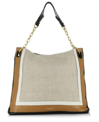Giudita leather and raffia tote bag GIANNI CHIARINI