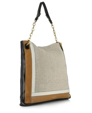Giudita leather and raffia tote bag GIANNI CHIARINI
