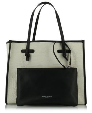 Marcella croc embossed canvas and leather tote bag GIANNI CHIARINI