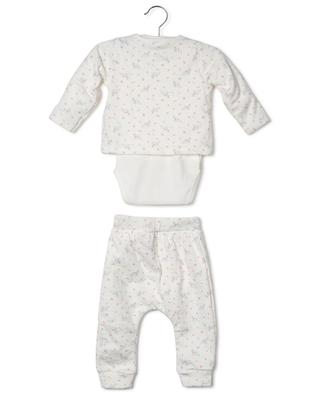 Fata floral jersey set of trousers, bodysuit and cardigan PETIT BATEAU