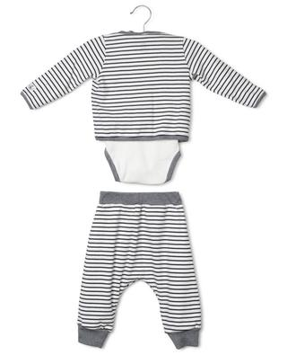 Facade striped jersey set with bodysuit, trousers and cardigan PETIT BATEAU