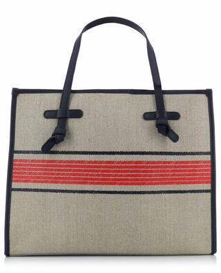 Marcella Ghibli stripe printed canvas tote bag with leather GIANNI CHIARINI