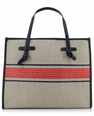 Marcella Ghibli stripe printed canvas tote bag with leather GIANNI CHIARINI