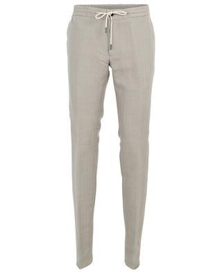 Pantalon en lin et coton mélangé à chevrons MAURIZIO BALDASSARI