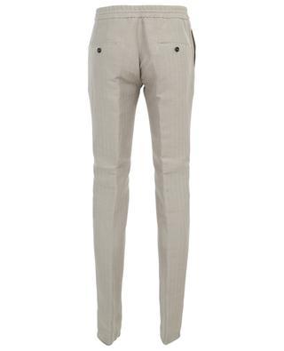 Herringbone pattern linen and cotton blend trousers MAURIZIO BALDASSARI