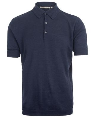 Short-sleeved linen knit polo shirt MAURIZIO BALDASSARI