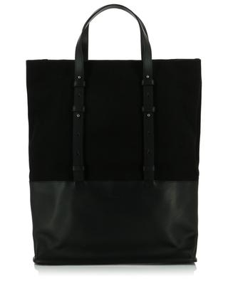 Canvas and leather tote bag AMI