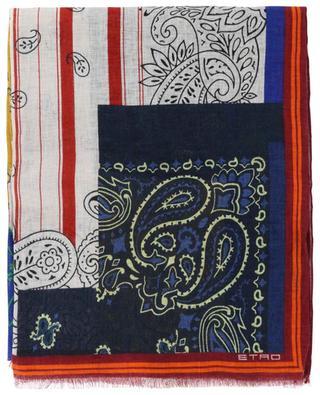Leinenschal mit Colour Block-Paisley-Print Shaal-Nur ETRO