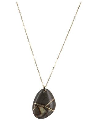Stone gold necklace with diamonds GBYG