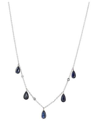 Halskette aus Weissgold mit Saphirtropfen und Diamanten GBYG