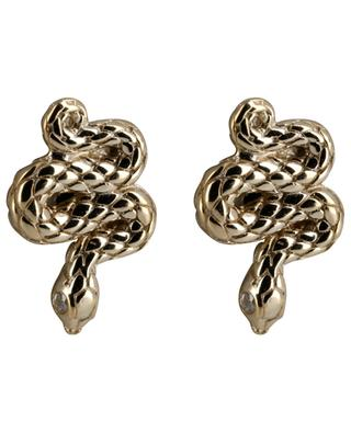 Serpent yellow gold plated ear studs AVINAS