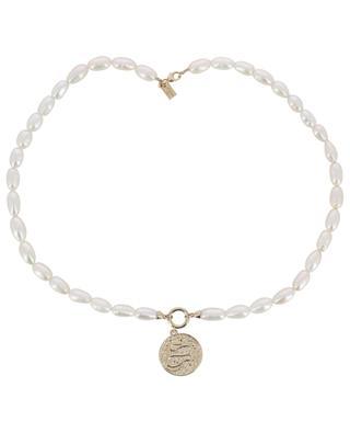 Equinox pearl neckacle with snake medal AVINAS