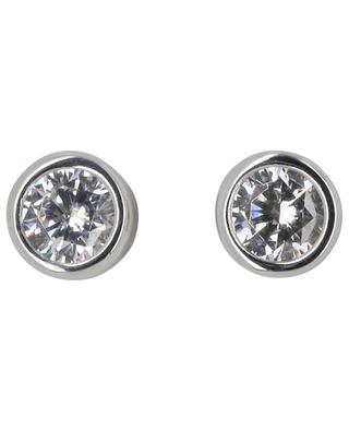 Taille Ronde silver ear studs with zircon AVINAS
