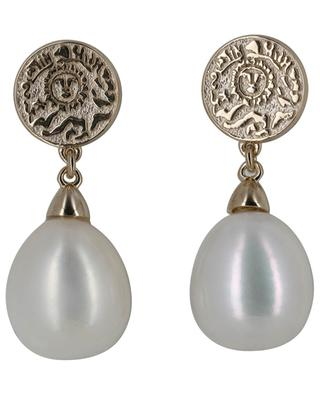 Sun & Pearls golden ear studs with pearls AVINAS