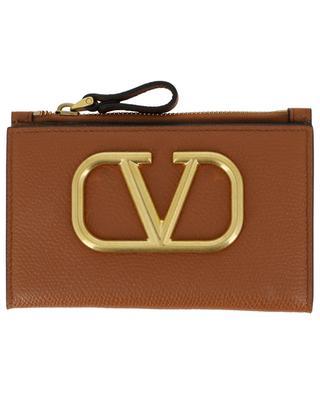 Porte-cartes plié en cuir avec poche zippée VLOGO VALENTINO
