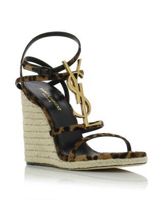 Cassandra leopard print calf hair wedge sandals SAINT LAURENT PARIS
