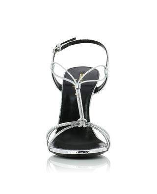 Silberne Sandalen mit Absatz in Schlangenoptik Robin 105 SAINT LAURENT PARIS
