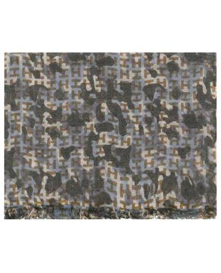 Ibensmall-WL wool and linen scarf with camouflage print HEMISPHERE