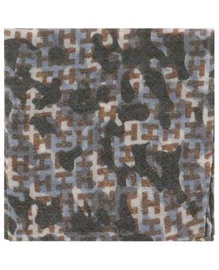 Ibenmini-WL camouflage print wool and linen pocket square HEMISPHERE
