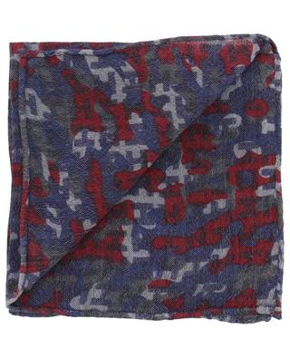 Ibenmini-WL camouflage print wool and linen pocket square HEMISPHERE
