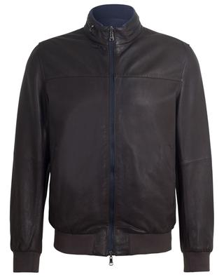 Reversible leather and nylon bomber jacket AD UNUM