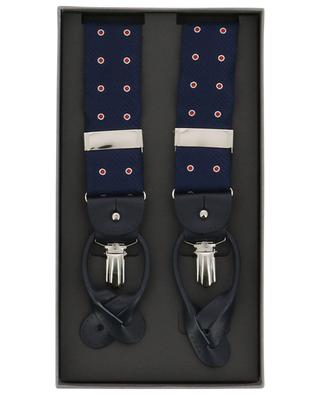 Polka dot printed silk and leather braces ROSI COLLECTION