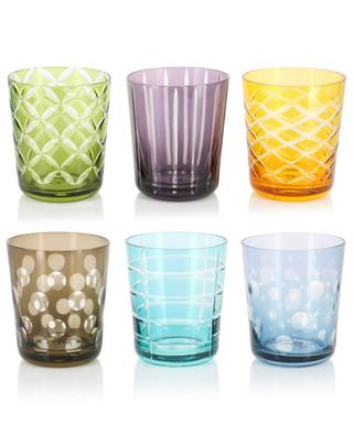 Set mit 6 bunten Gläsern Cuttings POLS POTTEN