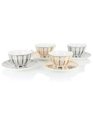 Set de 4 tasses à thé Stripes Gold + Silver POLS POTTEN