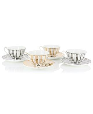 Stripes Gold + Silver set of 4 teacups POLS POTTEN