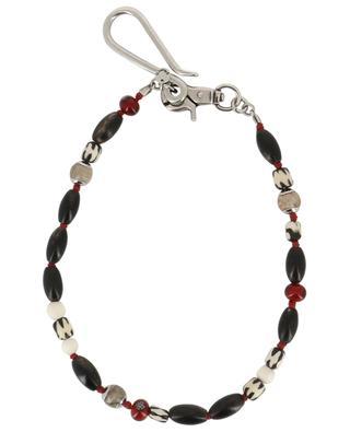 Chaîne porte-clé avec perles en corne et verre ANDREA D'AMICO