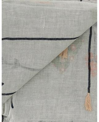 Dolly fringed linen stola with cotton embroideries STORIATIPIC