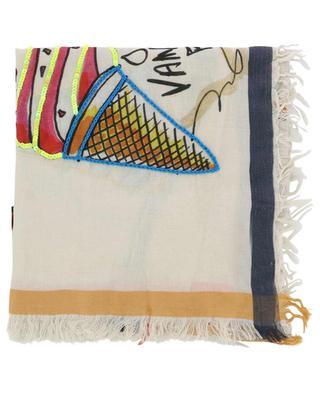 Maggie glittering fringed cotton and silk pocket square STORIATIPIC