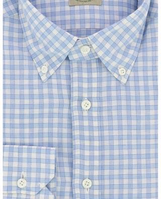 Chemise à carreaux en coton et lin LUIGI BORRELLI