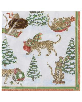 Leopard in Snow Luncheon paper napkins CASPARI