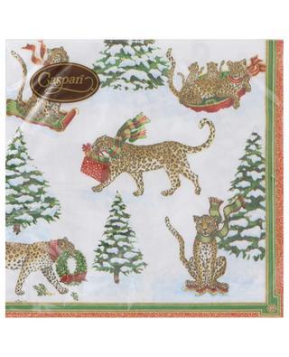Tafelservietten aus Papier Leopard in Snow Luncheon CASPARI