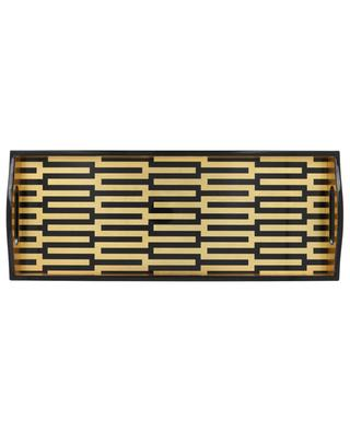 Zipper rectangular lacquered wood golden tray CASPARI