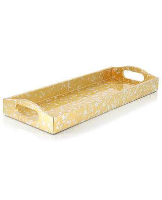 Rectangular golden lacquered wood tray CASPARI