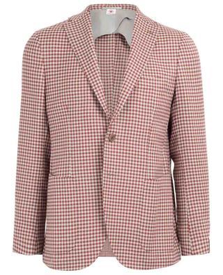 Houndstooth print virgin wool and silk blazer LUIGI BORRELLI