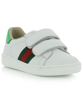 Sneakers à scratch en cuir détail Web GUCCI