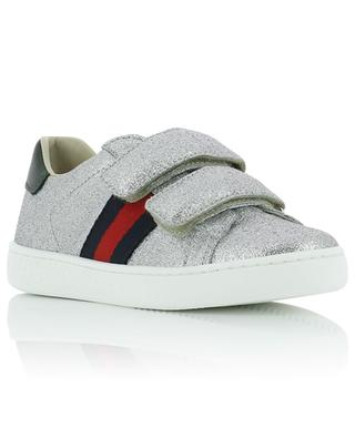 Ace children's glitter leather sneakers GUCCI