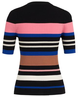 Short-sleeves rib knit sheath jumper with stripes BONGENIE GRIEDER