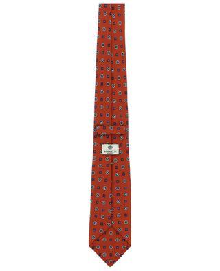 Cravate en sergé de soie motif fleurs et carrés LUIGI BORRELLI