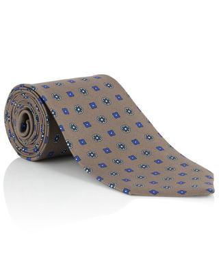 Krawatte aus Seidentwill mit Blüten und Quadraten LUIGI BORRELLI