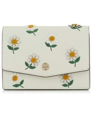 Robinson textured and suede shoulder bag with daisy embroideries TORY BURCH