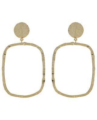 Grands clips d'oreilles dorés martelés réctangle ART 245 POGGI