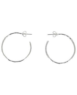 ART 0223 silver hammered hoop earrings POGGI